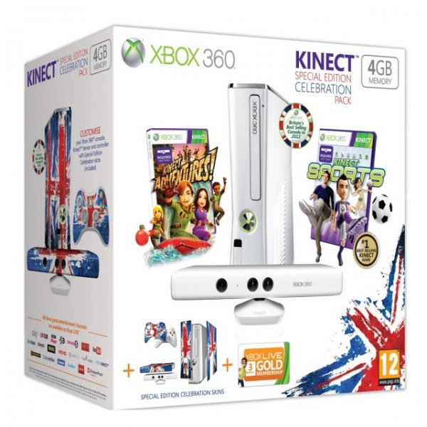 Xbox 360 4GB Console - Celebration Pack (incl. Kinect Sensor, Wireless Controller, 3-Month Xbox LIVE Membership & 2 Games)